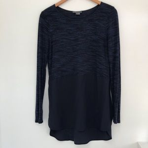 Vince heathered blue Long sleeve blouse small
